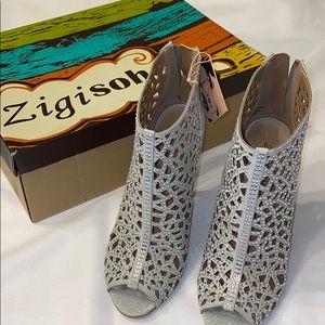 Zigi Soho Silver Drift Bootie Size 6.5